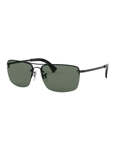 Men's Half-Rim Metal Sunglasses with Solid Lenses