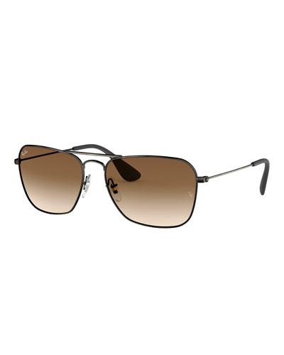 Men's Rectangular Metal Sunglasses with Gradient Lenses