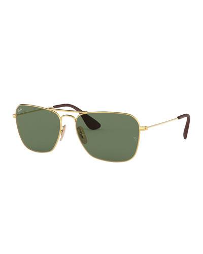Men's Rectangular Metal Sunglasses with Solid Lenses