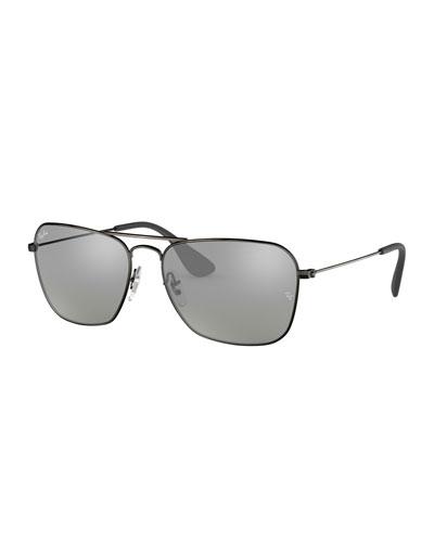 Men's Rectangular Metal Sunglasses with Mirrored Lenses