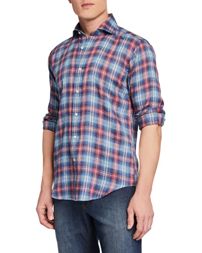 Men's Lion Park Plaid Linen Sport Shirt