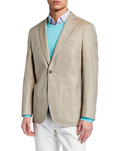 Men's Crown Summer Herringbone Two-Button Jacket