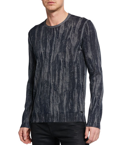 Men's Noah Distressed-Strokes Long-Sleeve T-Shirt