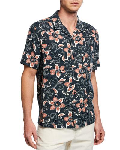Men's Short-Sleeve Double Face Floral Shirt