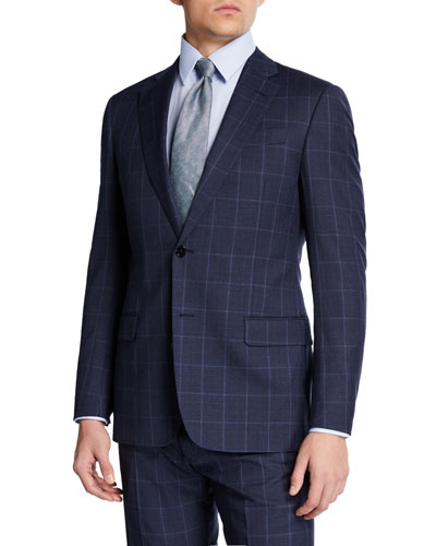 Men's Super 130s Tonal Windowpane Two-Piece Suit