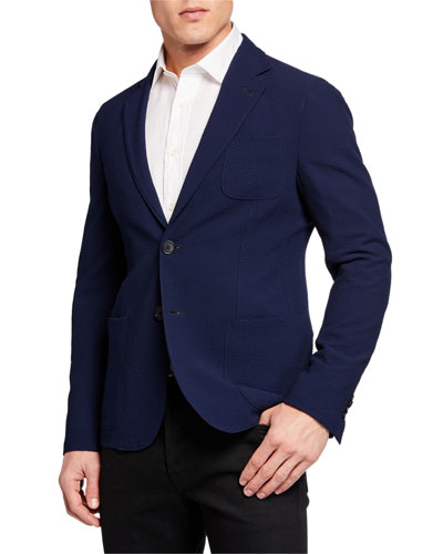 Men's Solid Stretch Seersucker Sport Coat
