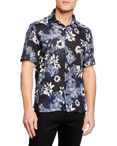 Men's Short-Sleeve Tropical Floral Shirt