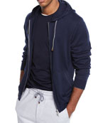 Brunello Cucinelli Men's Full Zip Cotton Hoodie