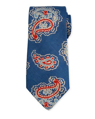 Men's Bali Print Linen Tie