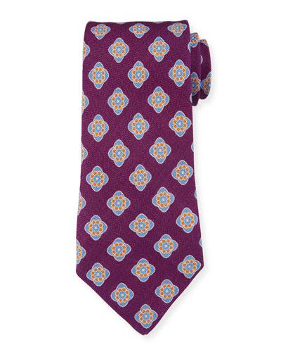 Bali Large-Medallion Linen Tie, Purple