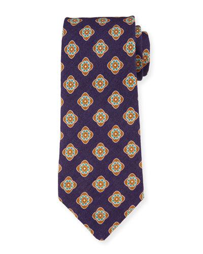 Bali Large-Medallion Linen Tie, Blue