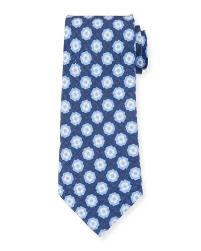 Camargue Large-Floral Printed Tie, Blue