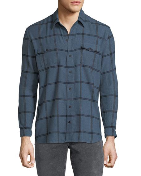 PAIGE Men's Everett Grid-Pattern Sport Shirt