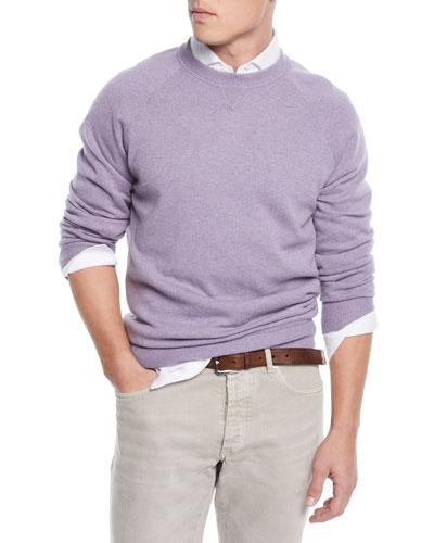 Men's Raglan-Sleeve Crewneck Sweater