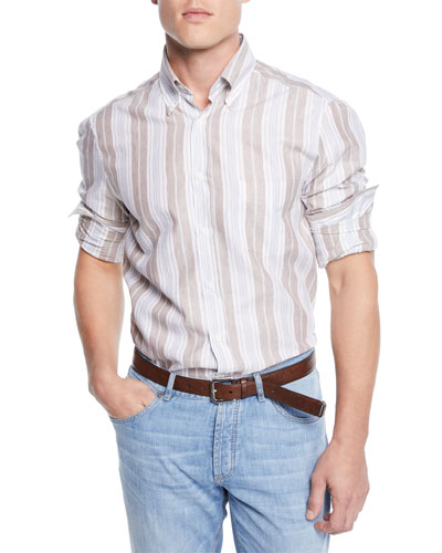 Men's Linen/Cotton Barcode Stripe Sport Shirt