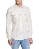 Brunello Cucinelli Men's Leisure-Fit Safari Woven Shirt
