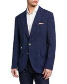 Brunello Cucinelli Men's Tonal Plaid Two-Button Jacket