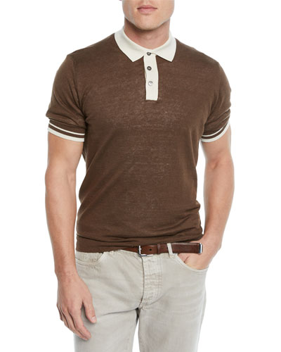 9af13fb7 Quick Look. Brunello Cucinelli · Men's Tipped Linen/Cotton Polo Shirt