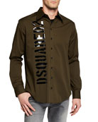 Dsquared2 Men's Long Sleeve Graphic Logo Sport Shirt