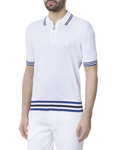 Men's Short-Sleeve Zip Polo Shirt with Stripes