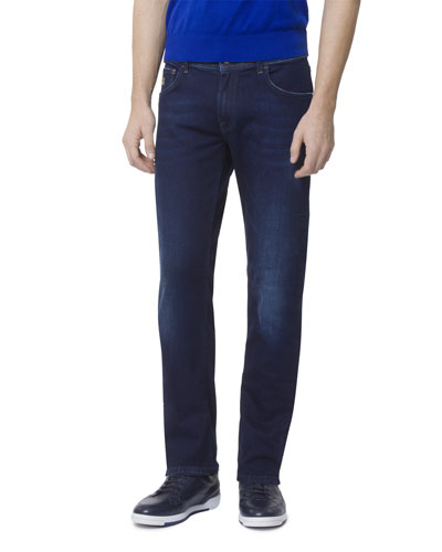 Men's Dark Denim Five-Pocket Jeans