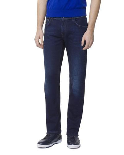 Men's Dark Denim Five-Pocket Jeans