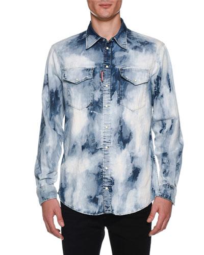Men's Bleached Denim Military Shirt