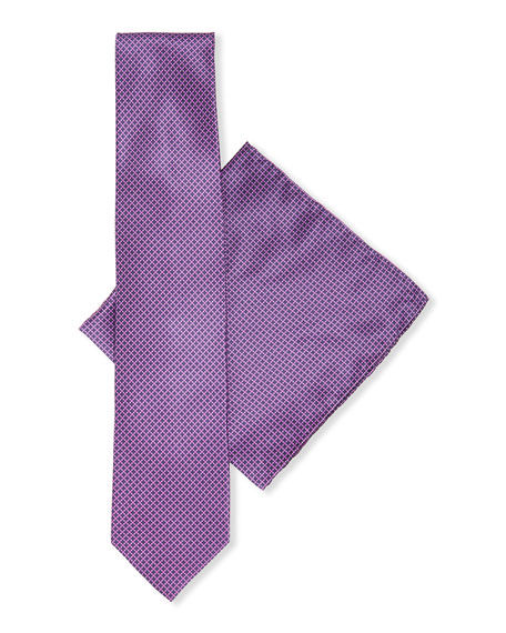 Stefano Ricci Geometric-Print Silk Tie & Pocket Square Set