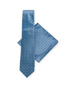 Stefano Ricci Large-Medallion Silk Tie & Pocket Square