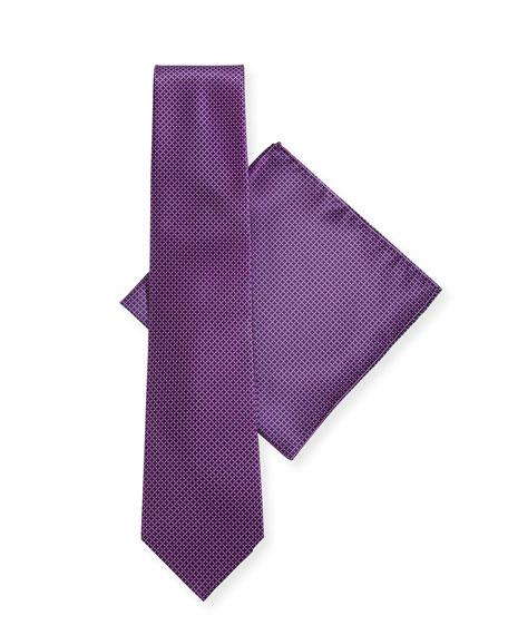 Stefano Ricci Dot-Pattern Silk Tie & Pocket Square Set