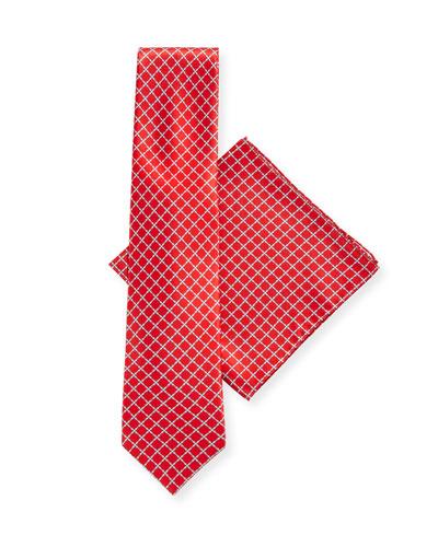 Arrow-Print Silk Tie & Pocket Square Set