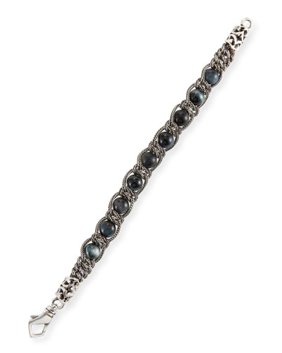 Men's Blue Tiger Eye Chain Bracelet