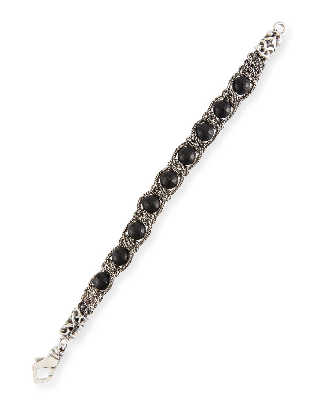 Men's Black Agate Chain Bracelet