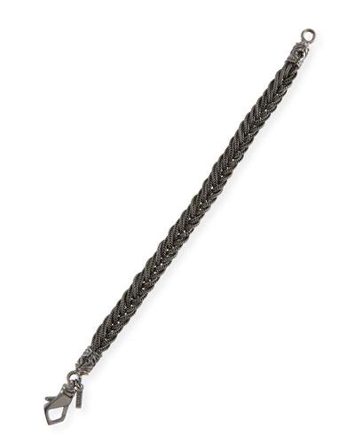 Men's Fishtail Braided Chain Bracelet, Black