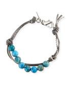 Emanuele Bicocchi Men's Blue Agate Bead Bracelet w/