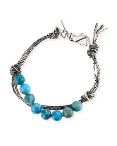 Men's Blue Agate Bead Bracelet w/ Knots