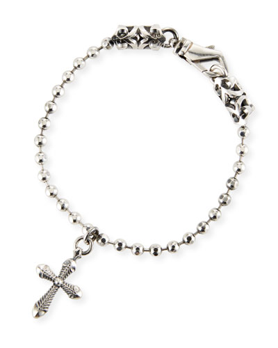 Men's Ball Chain Bracelet w/ Cross Charm