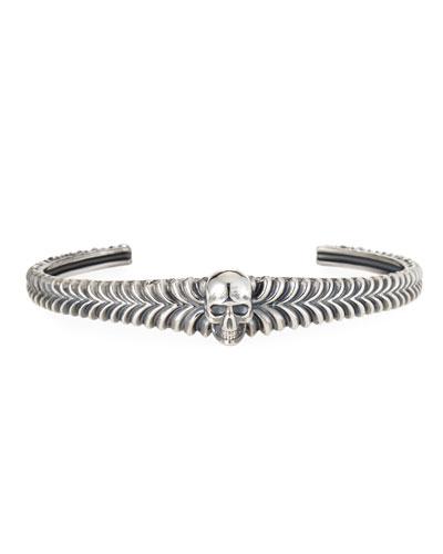 Men's Engraved Skull Cuff Bracelet