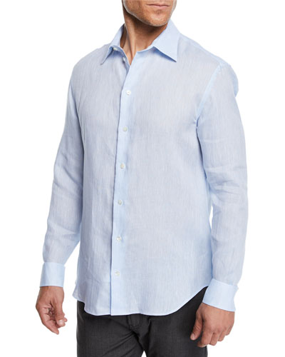 Men's Linen Sport Shirt, Light Blue