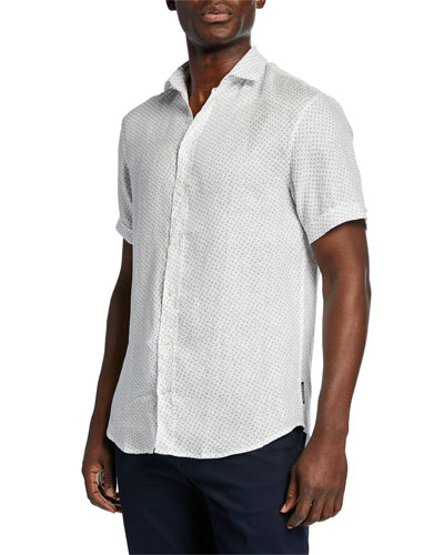 Men's Short-Sleeve Dobby Linen Sport Shirt