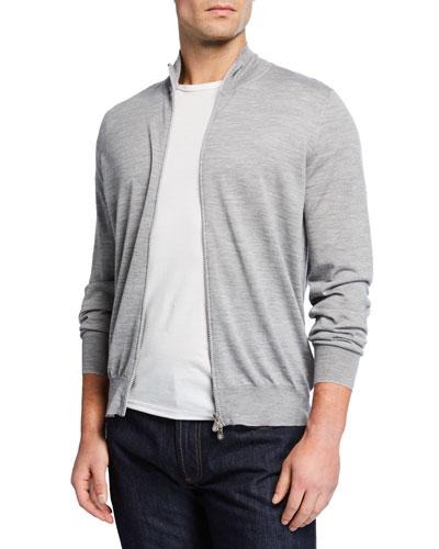 Men's Fine-Gauge Wool-Cashmere Zip Cardigan