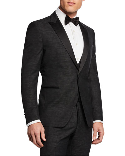 Men's Broken Plaid 3-Piece Peak-Lapel Tuxedo Suit