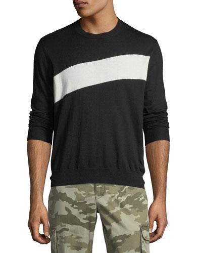 Men's Crewneck Sweater with Stripe