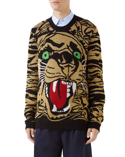 Men's Metallic Tiger Pullover Sweater