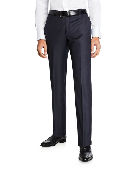 Hickey Freeman Men's Traveler Wool Dress Trousers