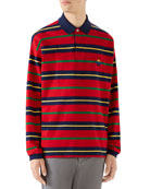 Gucci Men's Long-Sleeve Rugby-Striped Polo Shirt