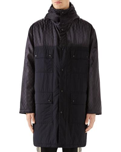 Men's Logo Jacquard Long Anorak Coat