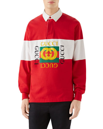 Men's Logo Rugby-Stripe Long-Sleeve Polo Shirt