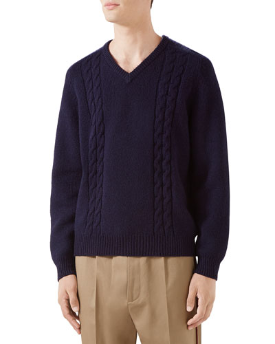 Men's Cashmere Cable-Knit Sweater