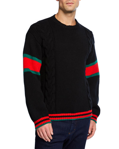 Men's Sweater with Striped Sleeves